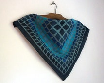 Small square cotton scarf, navy blue, blue and turquoise rhombuses tiles print, nautical bandana, teens' vintage fashion accessories