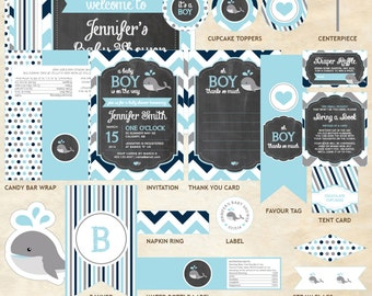 Whale Baby Shower Decor Package, Whale Decor Package, Whale, Light Blue, Gray, Navy Blue, Chevron | Printable