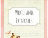Woodland bear pink - printable writing paper