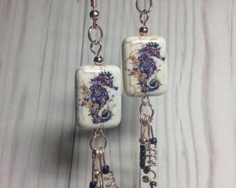 rose gold, sea horse earrings