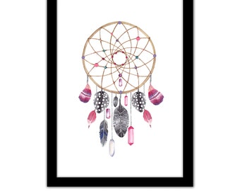 "ADVENTURE MULTI LISTING - Pretty Pink Dreamcatcher / Blue Feathers / ""Not All Those Who Wander Are Lost"" - Framed A4 Typography Quote Print"