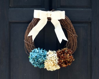 Rustic Fall Wreath with Blue Cream & Brown Hydrangeas, Autumn Front Door Decor, Rustic Autumn Wreath, Fall Front Door Hanger, Fall Decor