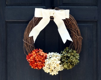 Rustic Fall Grapevine Wreath, Fall Wreath for Front Door, Wreath for Fall Door Decor, Summer Grapevine Wreath, Summer Front Door Decoration