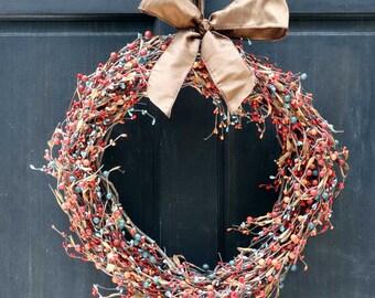 Summer Berry Wreath, Fall Berry Wreath, Autumn Berry Wreath, Orange Rust & Turquoise Blue Mixed Berry Wreath for Summer / Fall Door Decor
