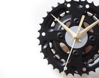 Black Wall Clock, Small Black Clock, Small Wall Clock, Unique Wall Clock, Boyfriend Gift, Metal Clock, Cyclist Gift, Dad Gift, Husband Gift
