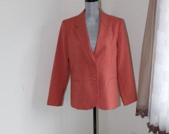 Orange Jacket by TanJay Size 10 Lined Tangerine Blazer Button Front