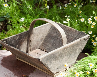 Vintage French Grape Trug - Grape Harvesting Wooden Basket - Wine Country Decor - Panier de Vendange -  Free Shipping Within the USA