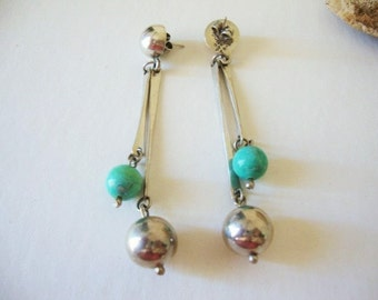 Mexican Earrings Turquoise And Sterling Silver Long Drop Dangle with Turquoise and silver balls signed