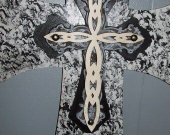 Large Decorative wall crosses, wooden and metal crosses, rustic wood crosses, unique wall crosses, painted wall crosses