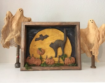 Halloween Shadow Box - Halloween Cat with Moon - Halloween Display - Halloween Wall Art - Primitive Halloween Display