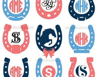 Horseshoe SVG Monogram Frames - Western Horse Cut Files for Cutting Machines - Cricut, Silhouette, Graphtec, svg, eps, dxf, png, studio3