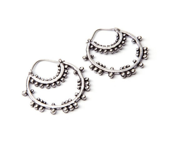 Mandala Dotted White Brass Hoop Earrings Indian Inspired Earrings Jewellery Free UK Delivery Gift Boxed WB7