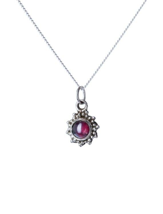 Garnet Gemstone Pendant Dainty Necklace  Handmade, Simple Jewellery Gift box, Free UK Delivery