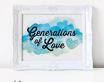 Generations of Love Watercolor Sign