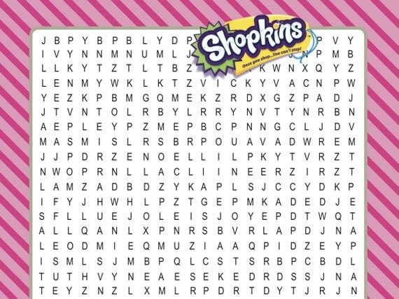 Shopkins printable word search digital download shopkin birthday