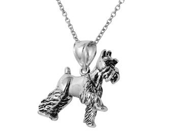 MINIATURE SCHNAUZER 3D Dog Necklace in Sterling Silver, Dog Jewelry, Animal Jewelry, Miniature Schnauzer Jewelry  FD-25-23
