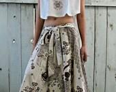 New Natural Creamy Cute Koi Fish Medium Long Skirt SK2DBa