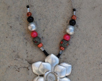 Flower Tribal Necklace, Tribal Jewelry, Flower Pendant, Flower Necklace