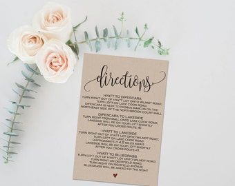 Invitation enclosure etsy directions card wedding information card printable directions card directions card pdf wedding stopboris Images