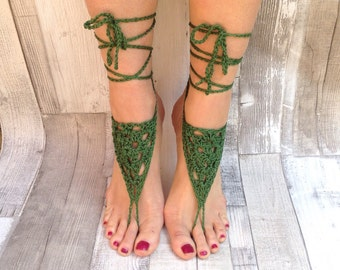 Barefoot sandals, crochet sandals, hippy ,green hippie, barefoot, yoga shoes, hula hooping,festival, cotton, vegan,black beach sandals