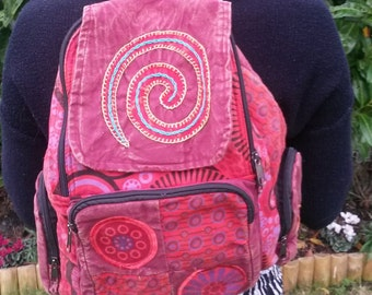Spiral Patchwork Backpack, Cotton Stonewash Flower Rucksack, Hippy Bohemian