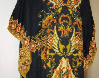 "70's Ethnic Maxi Dress - size 12/14 ( 34-36"" Chest) 86/91cm"