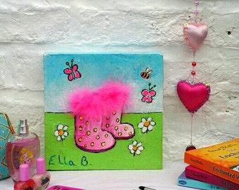 Kids art, girls painting, girls picture, childrens wall art, girls wall art, nursery picture, nursery painting, girls canvas. wall art