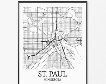 Saint Paul Map Art Print, Saint Paul Poster Map of Saint Paul Decor, Saint Paul City Map Art, Saint Paul Gift, Saint Paul Art Poster