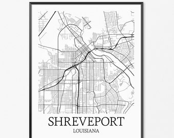 Shreveport Map Art Print, Shreveport Poster Map of Shreveport Decor, Shreveport City Map Art, Shreveport Gift, Shreveport Art Poster