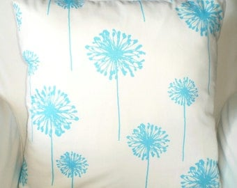 Aqua Pillow Covers, Decorative Throw Pillows, Cushions, Aqua White Dandelion Couch Bed Pillow, Girly Blue, Pillow Case One or More All Sizes