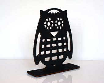 Black Owl Jewelry Stand, Wooden Earrings Holder, Earring Stand, Earring Display, Earring Organizer, Unique Home Decor, Gift for Her