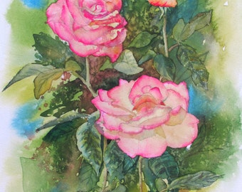 Rose Trio, Original Watercolor Painting