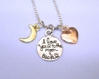 I love you to the moon and back necklace pendant, Personalized gift, Gift for daughter, wife gift, girlfriend Gift, family necklace