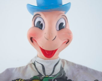 Vintage Disney Productions Jiminy Cricket Hand Puppet made by GUND 1960s