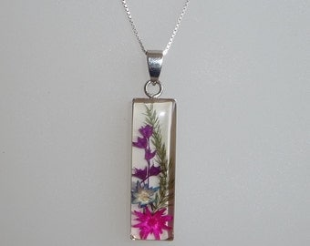 Vintage Retro Encased Dried Flowers Pendant / Necklace With Sterling Silver Chain