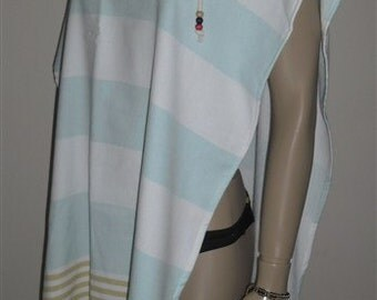 Terry Beach Cover Up Hooded Peshtemal towel, Peshtemal robe,swim cover up,,Blue Swim Cover Up, Swim Wear boho wear turkish towel cover up