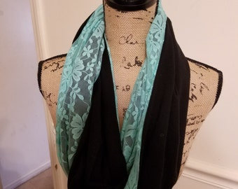 Reversible black knit and green lace infinity scarf