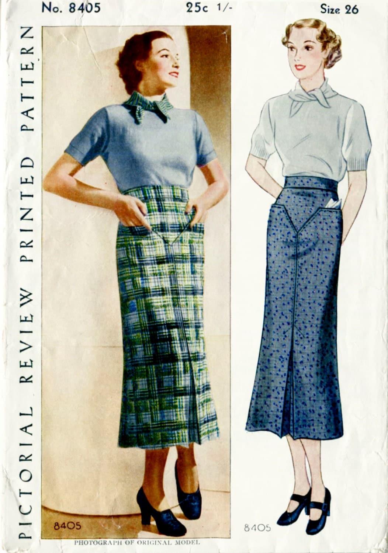 1930s 30s vintage pencil skirt yoke and belt womens sewing sold by ladymarlowepatterns jeuxipadfo Choice Image