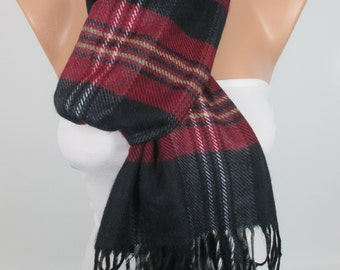 Christmas Gift Scarf Plaid Scarf Navy Blue Red Scarf Winter Scarf Warm Scarf  Women Men Fashion Accessories Gift Ideas For Her For Him