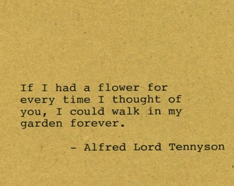 Alfred Lord Tennyson Quote Made on Typewriter Home Decor Wall Art Quote Art Classic Book Quote Mixed Media Handmade Art Quote Wall Art