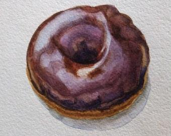 Chocolate Donut Illustration Donut Painting Donut Watercolor Doughnut Dessert Food Illustration Kitchen Wall Art 8''x8'' Food Art