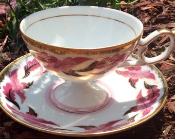 Pretty in Pink Footed Teacup and Saucer Shafford Hand Decorated Japan