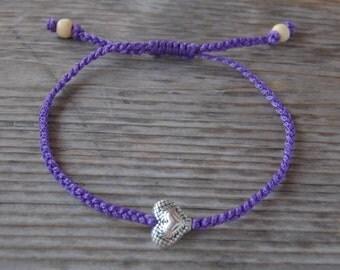 Heart Anklet,Heart Bracelet,Adjustable Drawstring,Bohemian Anklet,Gypsy Anklet,Summer Anklet,Woman,Ladies Anklet,Girls Anklet