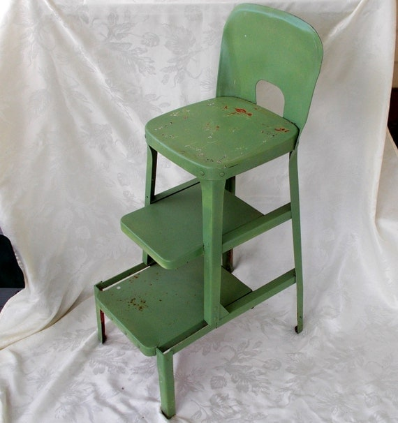Vintage Kitchen Stool Chair Pull Out Steps Step Stool Metal
