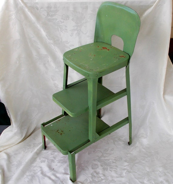 Green Kitchen Stools: Vintage Kitchen Stool Chair Pull Out Steps Step Stool Metal