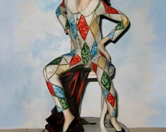 "New Giuseppe Armani HARLEQUIN Jester Boy, 490C, 1994 Armani Society 5th Anniversary Limited Edition Sculpture,  11.5"" h,  Never Displayed"