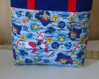 BoysTote Bag Boys Jake the Pirate Tote Bag Boys Library Bag Boys Reusable Tote Bag