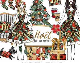 SALE Noel Christmas Clip Art | Illustration Cozy Holiday Tree Gifts Stockings Graphics | Planner Stickers, Planner Girl Digital Cliparts