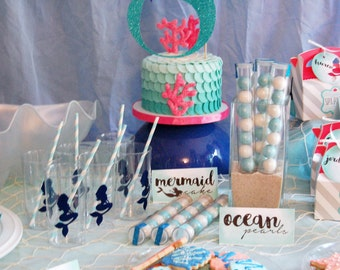 Under the Sea Birthday Number Cake Topper / Mermaid Theme Party Cake Glitter Topper Kids Birthday Mermaid Party Ocean Dessert Table Decor