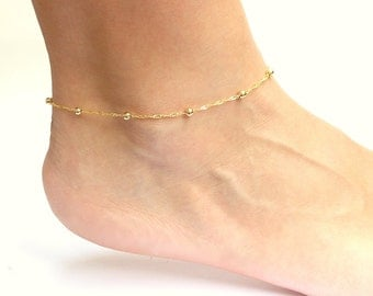 Gold Ankle Bracelet, Anklets for Women, Gold Chain Anklet, Gold Bridesmaid Jewelry, Cute Anklet Available in Plus Size